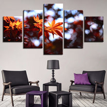Autumn Maple Leaves 5 Piece HD Multi Panel Canvas Wall Art Frame