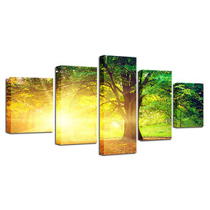 Big Willow Tree 5 Piece HD Multi Panel Canvas Wall Art Frame