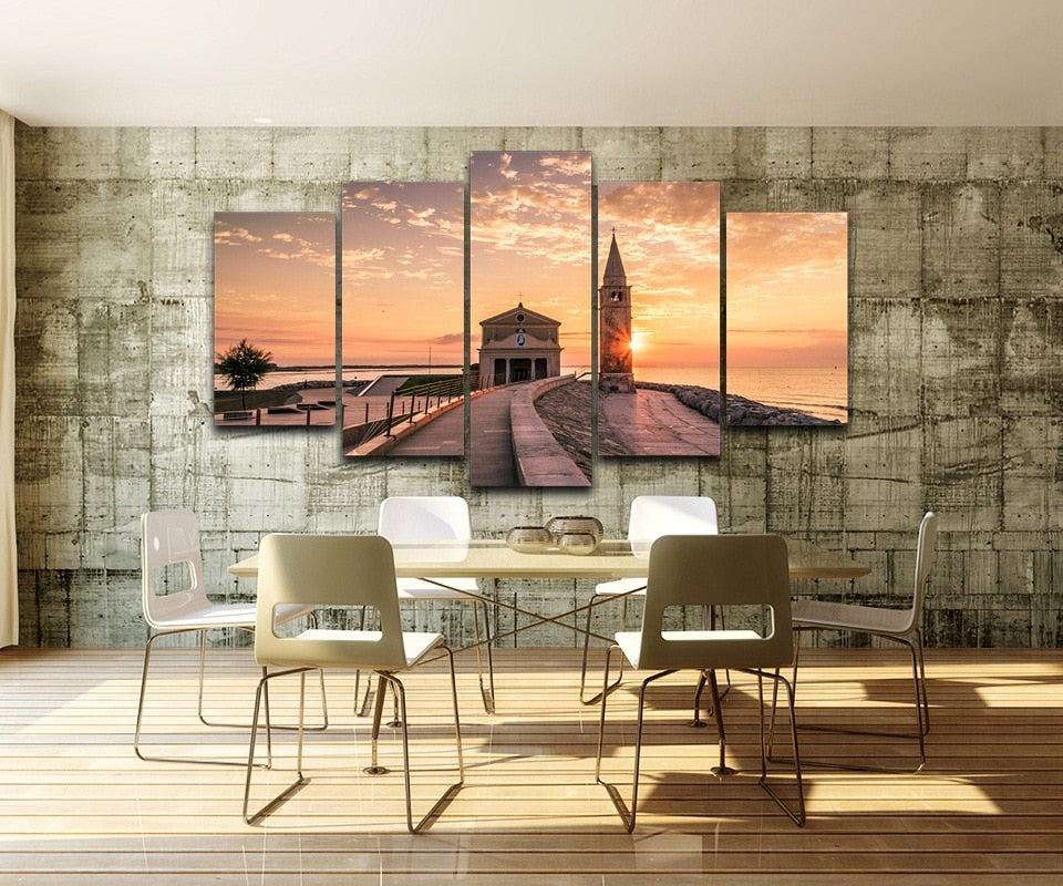 Harbour Bridge Tower 5 Piece HD Multi Panel Canvas Wall Art Frame