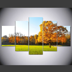 Green Grass And Tree 5 Piece HD Multi Panel Canvas Wall Art Frame