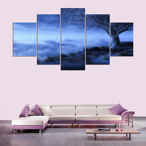 Fog And Tree 5 Piece HD Multi Panel Canvas Wall Art Frame
