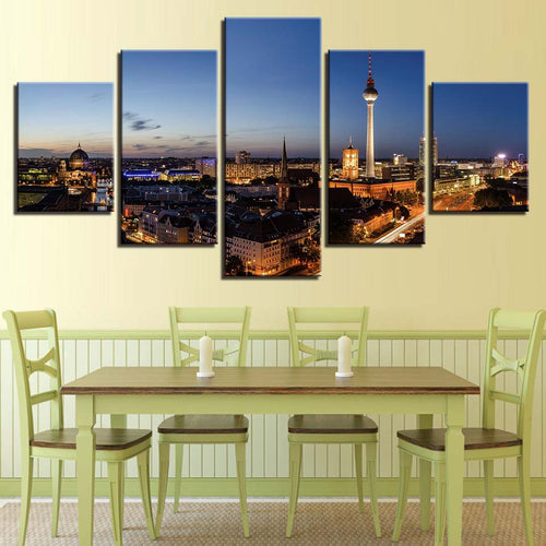 City Night Scene 5 Piece HD Multi Panel Canvas Wall Art Frame