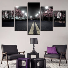 Cherry Blossoms Street Nightscape 5 Piece HD Multi Panel Canvas Wall Art Frame