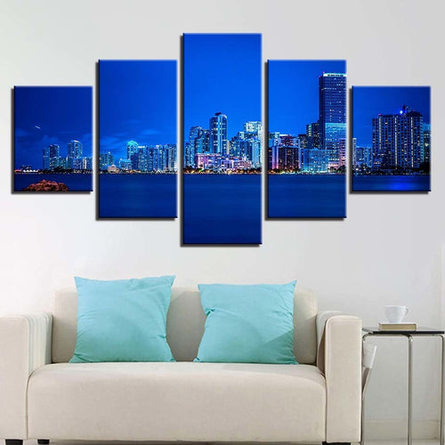 Blue City-lights 5 Piece HD Multi Panel Canvas Wall Art Frame