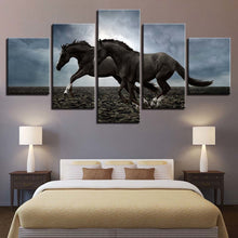Two Horses Running 5 Piece HD Multi Panel Canvas Wall Art Frame