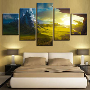 Natural Landscape Of Mountain Peak 5 Piece HD Multi Panel Canvas Wall Art Frame