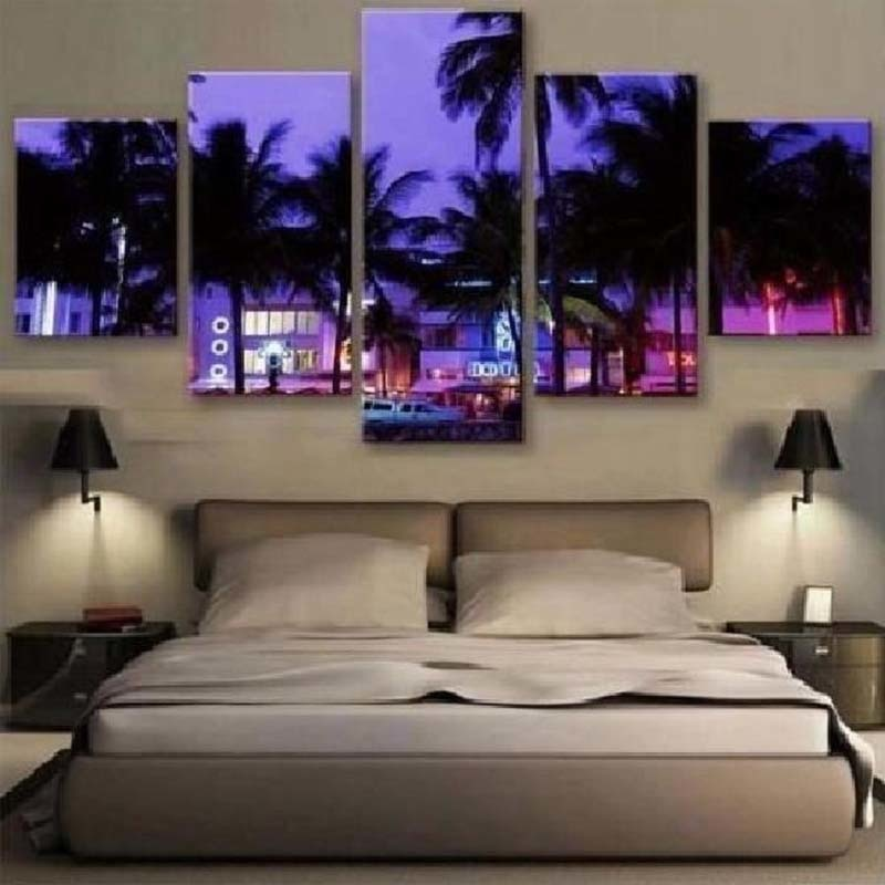 Purple Trees Nightscape 5 Piece HD Multi Panel Canvas Wall Art Frame