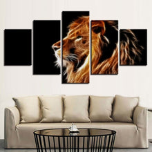 Light And Lion 5 Piece HD Multi Panel Canvas Wall Art Frame