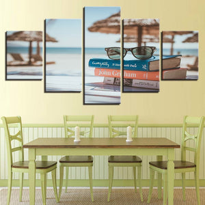Glasses And Books By The Sea 5 Piece HD Multi Panel Canvas Wall Art Frame