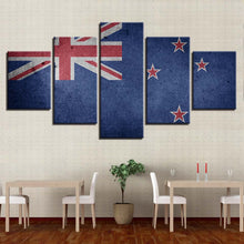 New Zealand Flag 5 Piece HD Multi Panel Canvas Wall Art Frame