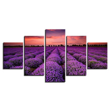Lavender Fields at Sunset 5 Piece HD Multi Panel Canvas Wall Art Frame