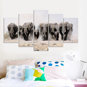 Elephants 5 Piece HD Multi Panel Canvas Wall Art Frame