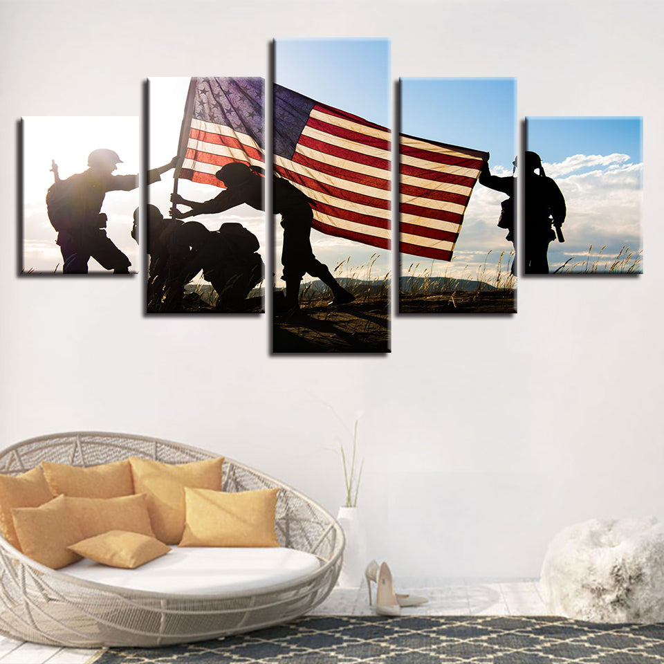 American Flag & Soldiers 5 Piece HD Multi Panel Canvas Wall Art Frame
