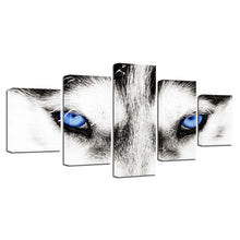 Wolf's Blue Eyes 5 Piece HD Multi Panel Canvas Wall Art Frame
