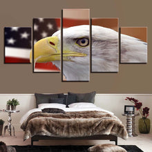 Eagle And American Flag 5 Piece HD Multi Panel Canvas Wall Art Frame