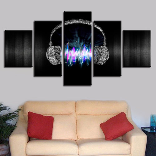 Magic Cool Music Headset 5 Piece HD Multi Panel Canvas Wall Art Frame