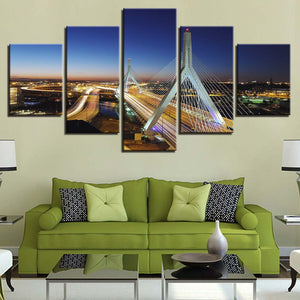 Highway Bridge 5 Piece HD Multi Panel Canvas Wall Art Frame