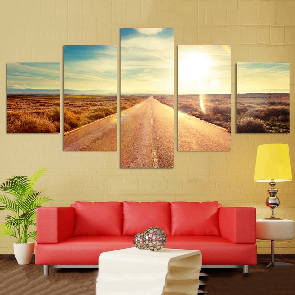 Highway 5 Piece HD Multi Panel Canvas Wall Art Frame
