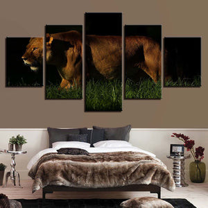 Lion in the Dark 5 Piece HD Multi Panel Canvas Wall Art Frame