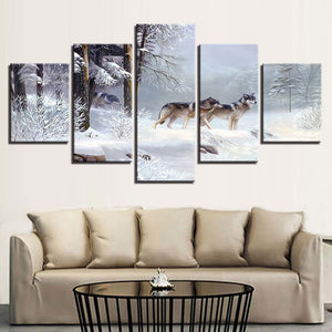 Wolf Snow 5 Piece HD Multi Panel Canvas Wall Art Frame