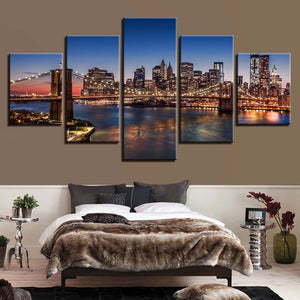 Buildings Night Scene 5 Piece HD Multi Panel Canvas Wall Art Frame