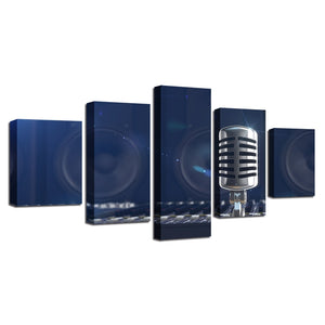 Music Microphone 5 Piece HD Multi Panel Canvas Wall Art Frame