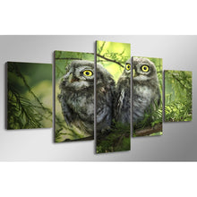 Owl Couple 5 Piece HD Multi Panel Canvas Wall Art Frame