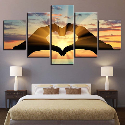 Heart Shape 5 Piece HD Multi Panel Canvas Wall Art Frame