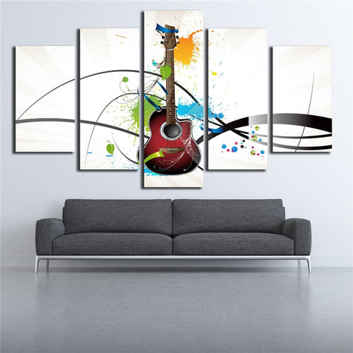 Guitar Musical Instruments 5 Piece HD Multi Panel Canvas Wall Art Frame