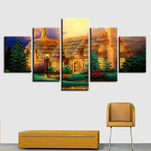 Abstract Fairy Tale House 5 Piece HD Multi Panel Canvas Wall Art Frame