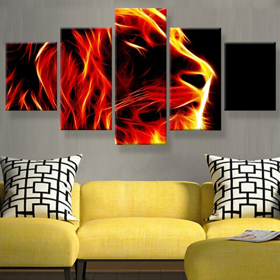 Lion Abstract Fire Painting 5 Piece HD Multi Panel Canvas Wall Art Frame