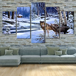 Animal Wolf Couple 5 Piece HD Multi Panel Canvas Wall Art Frame