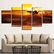 Sunset Surfing 5 Piece HD Multi Panel Canvas Wall Art Frame