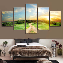 Green Trees And Sunset Landscape 5 Piece HD Multi Panel Canvas Wall Art Frame