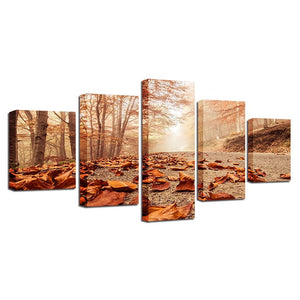 Autumn Leaves Fell On The Ground 5 Piece HD Multi Panel Canvas Wall Art Frame