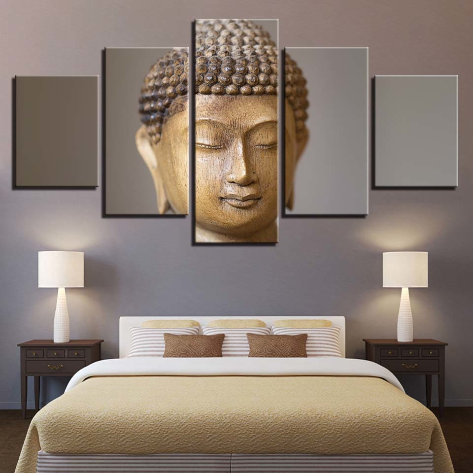 Buddha 5 Piece HD Multi Panel Canvas Wall Art Frame