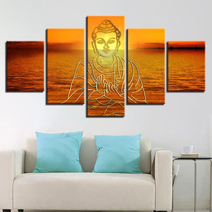 Buddha In Sunset 5 Piece HD Multi Panel Canvas Wall Art Frame