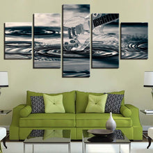Transparent Guitar And Water Waves 5 Piece HD Multi Panel Canvas Wall Art Frame