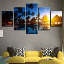 Coconut Trees And Sunset Seascape 5 Piece HD Multi Panel Canvas Wall Art Frame