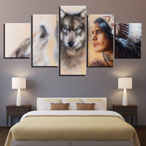 American Indian Native And Wolves 5 Piece HD Multi Panel Canvas Wall Art Frame