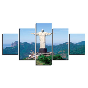 Cristo Redentor 5 Piece HD Multi Panel Canvas Wall Art Frame