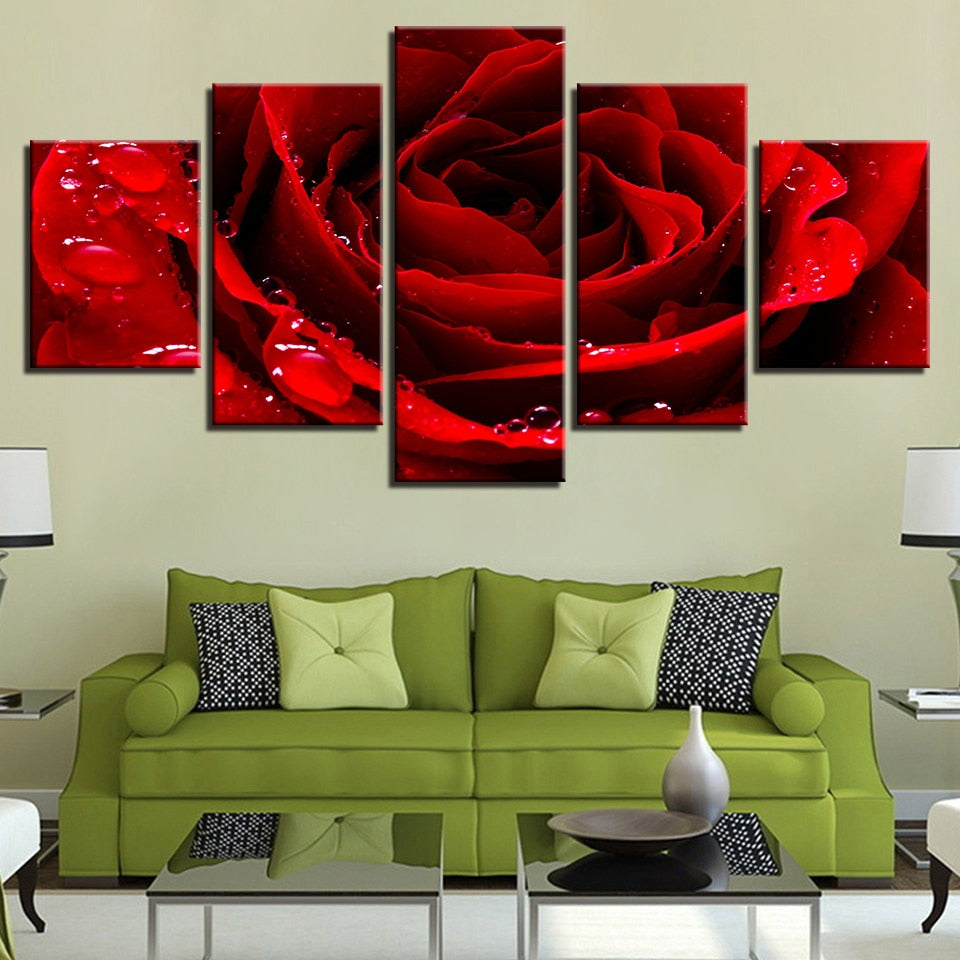 Beautiful Red Rose 5 Piece HD Multi Panel Canvas Wall Art Frame