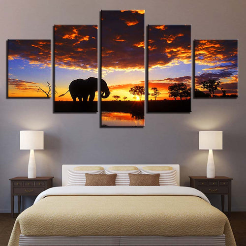 Elephant Sunset Scenery 5 Piece HD Multi Panel Canvas Wall Art Frame