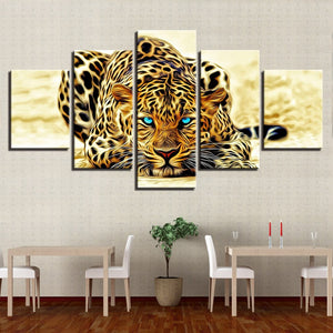 Leopard Blue Eyes 5 Piece HD Multi Panel Canvas Wall Art Frame