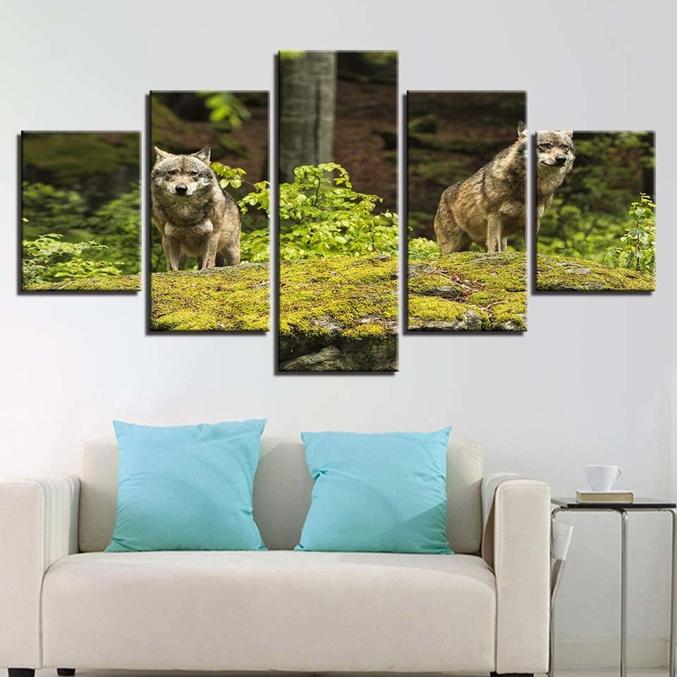 Two Wolves On Grass Land 5 Piece HD Multi Panel Canvas Wall Art Frame