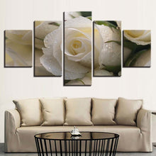 Beautiful White Rose 5 Piece HD Multi Panel Canvas Wall Art Frame