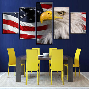 American Flag Eagle 5 Piece HD Multi Panel Canvas Wall Art Frame