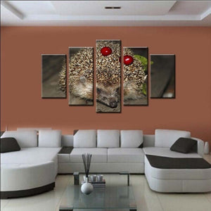 Hedgehog And Cherries 5 Piece HD Multi Panel Canvas Wall Art Frame