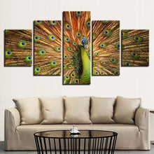 Proud Peacock 5 Piece HD Multi Panel Canvas Wall Art Frame