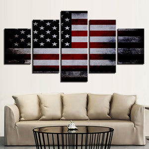 American Flag 5 Piece HD Multi Panel Canvas Wall Art Frame